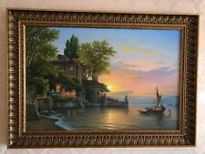 """""""Sunset at Lake Como"""" Oil on Canvas Painting"""