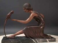 """Bronze Art Sculpture Deco """"Girl with Parrot""""  by Chiparus"""