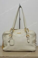 Prada BL0559 Cervo Lux Off-White Shoulder Satchel Bag Used Authentic
