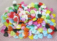 100pcs 10mm Heart Mixed Colors Resin Buttons Sewing Scrapbooking Gift: