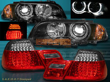00-03 BMW E46 2DR HALO HEADLIGHTS W/ CORNER LIGH + LED TAIL LIGHT RED SMOKE