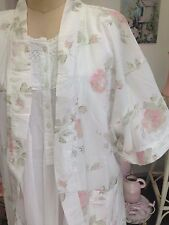 WOMENS 'ROSES' DRESSING GOWN SHABBY CHIC robe one size fits all 100% cotton