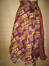 "New VINTAGE Silk sari wrap SKIRT / DRESS FREESIZE (8-16 best) 30"" Long (code76)"
