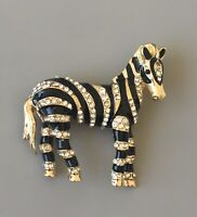 Unique  Zebra Brooch in gold tone metal with crystals