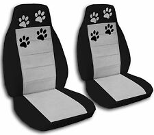 Toyota Car Seat Covers. Black and Silver with Paw Prints. Side Airbag Friendly