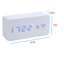 Wooden Voice Control LED Digital Alarm Clock USB/Battery Home Decor Gift