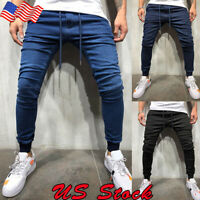 US Men's Casual Denim Jogger Pants Ladies Drawstring Elastic Waist Jeans Solid