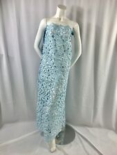 Light Blue Flowers Embroider And Hand Beaded Organza Lace.bridal- Wedding Lace.