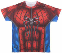 Marvel Comics Spiderman Sublimated Costume Cosplay Men's T Shirt S-2XL