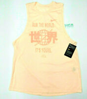 Nike Dri Fit Running Division Tank Top Womens Peach Training Gym 910978-814 NWT