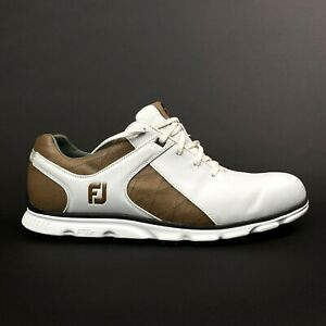 FootJoy Mens Size 13 M Pro SL Golf Shoes White Brown Taupe Leather Adam Scott