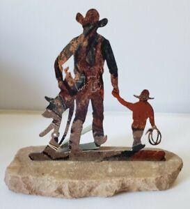 Lazart Metal Art Sculpture Cowboy & Son Sandstone Base Western Santa Fe Style