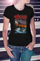 RONNIE JAMES DIO HOLY DIVER Women T-shirt Rock Band Tee Black Sabbath Shirt