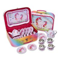 Magical Unicorn Kids Metal Tea Set & Carry Case - Pretend Play Toy 14 Pieces