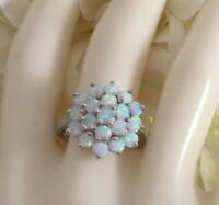 Vintage Jewellery White Gold Ring with Opals Antique Art Deco Jewelry large sz V