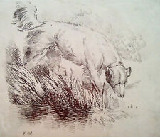 """George Morland Antique Soft Ground Etching Art """"The Hunting Dog"""" c1800"""