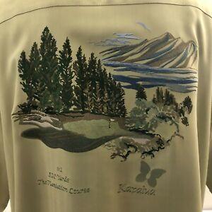 Kapalua Collection Men's Camp Shirt XL Green Embroidered Plantation Course Silk