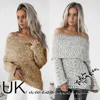 UK Womens Christmas Off Shoulder Sweater Ladies Knitted Jumper Top Size 6 - 14