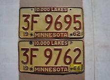 1962 1963 1964 Minnesota License Plate PAIR / SET