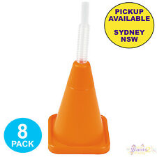 CONSTRUCTION PARTY SUPPLIES 8 TRAFFIC CONES PLASTIC NOVELTY CUP & STRAW FAVOURS