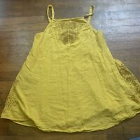 Intimately Free People Embroidered Mini Dress Size M Tunic Yellow Brown Flowers