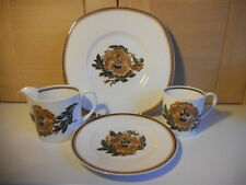 WEDGWOOD SUSIE COOPER REVERIE BROWN FLORAL CHINA SQUARE & ROUND PLATES JUG CUP