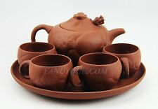 CHINESE YIXING ZISHA CLAY ARTISTIC RED TEA SET TEAPOT, 4 CUPS & TRAY NEW # 10