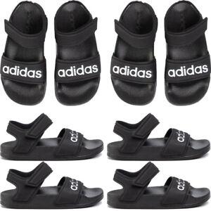 Adidas Boys Sandals Adilette Kids Summer Shoes Casual Sandal Black Strap UK Size