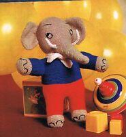 "KNITTING PATTERN in DK. JUMBO THE ELEPHANT.18"". CHRISTMAS TOY, STOCKING FILLER."