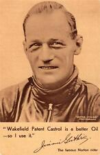 Jimmie Guthrie Norton Motorcyle rider IOM TT  Castrol Oil Advertising  old pc