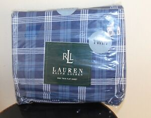 Vintage NEW Ralph Lauren Twin Blue Plaid One Flat Sheet -Made in USA