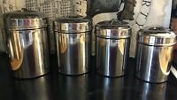 Vintage 4 Pc Canister Set Stainless Steel Nesting - Mid Century Modern - Ex Cond