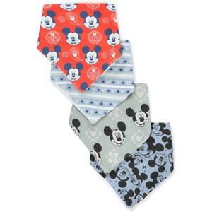 4 Pack Disney Mickey Mouse Bandana Bibs, Baby Boys Shower Gift, C4