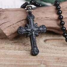 Natural Obsidian Cross Pendant Jesus Cross Necklace