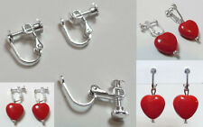 12 supports boucles d'oreille clips clip  réglage pression à vis Argenté foncé