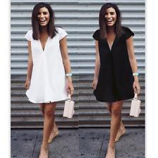 Women Blouse Chiffon Long Sleeve T Shirts V Neck Casual Loose Short Dress Tops