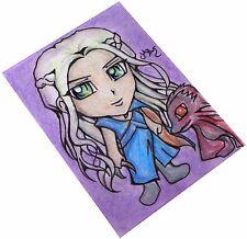 Game of Thrones Daenerys & Dragon Japan Anime Art Original Sketch Card ACEO Maia