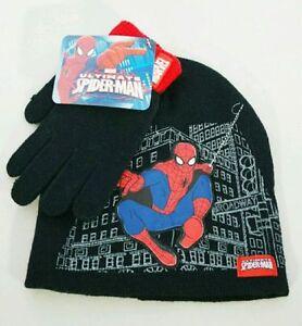 Marvel Ultimate SPIDER-MAN Black Red Beanie Hat Gloves Kids Gift Set