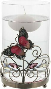 Pink Butterfly & Glass Floating Candle Holder (candle not included) 16 CM