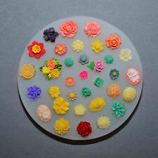 SILICONE MOLD 34 TINY FLOWERS SET mould Icing Decoration cup cake topper mould