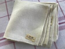 "4 lt. beige linen vintage cocktail napkins nwt NU 10.5"" imported Portugal fresh"