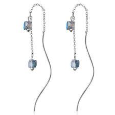 Dangle Drop Earrings For Women Lady 925 Sterling Silver Crystal Cube Long Chain