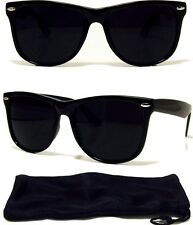 Dark Black Sunglasses Retro Aviator Style Frame with Dark Lens NEW! FREE CASE