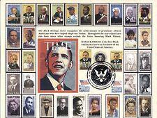 President OBAMA 8 1/2 x 11 2009 INAUGURATION Card (Black Heritage) w/MLK Stamps!