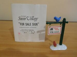 Dept 56 Snow Village - For Sale Sign - Free Shipping