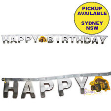 CONSTRUCTION ZONE PARTY SUPPLIES HAPPY BIRTHDAY BANNER TRUCK DECORATIONS
