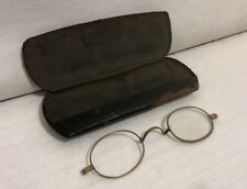 Vtg Gold Filled Wire Rimmed Spectacles Oval Glasses in Metal Case Missing Parts