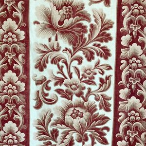 1870 Arts and Crafts French fabric design cotton brown beige floral stripe