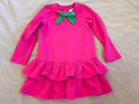 Hanna Andersson 120 Dress Pink Sweatshirt Material Bow Festive Holiday Warm