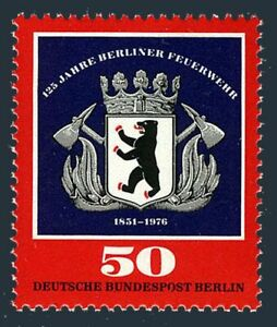 Germany-Berlin 9N387,MNH.Michel 523. Berlin Fire Brigade,125th Ann.1976.Emblem.
